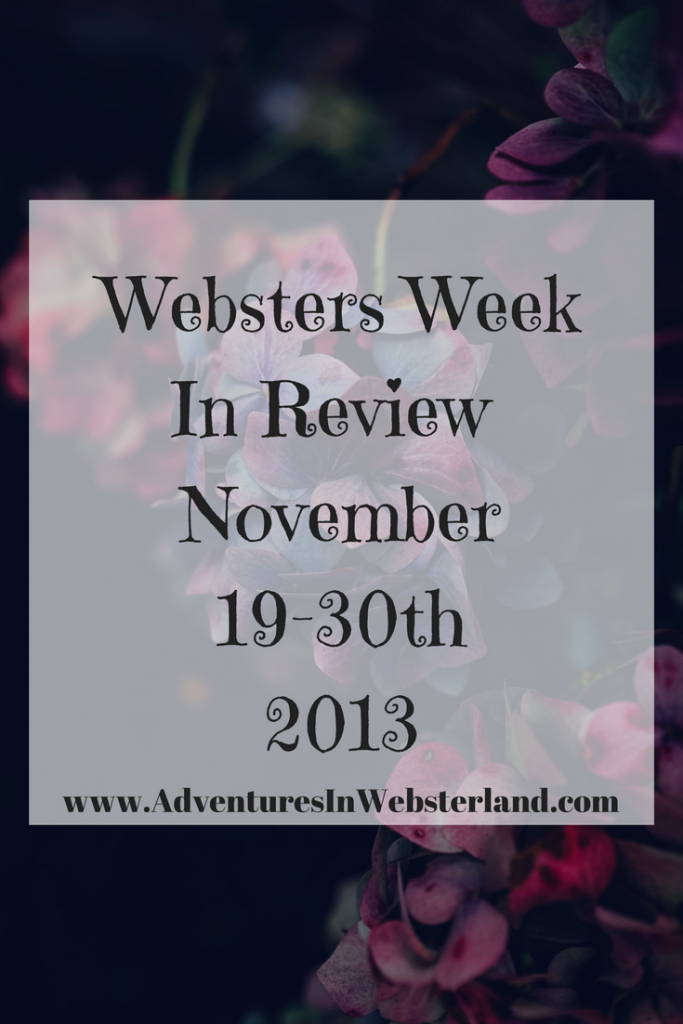 Websters Week In Review {19th-30th November 2013}