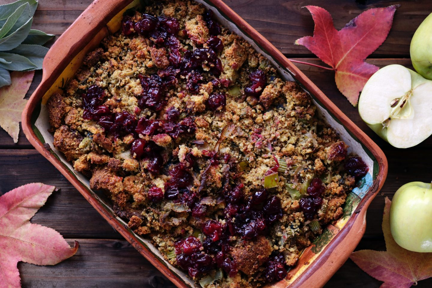 plum and apple crumble in a dish