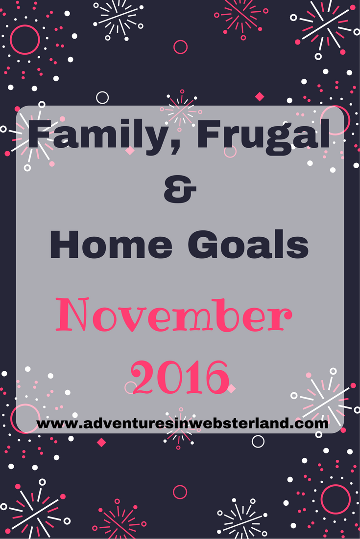 Family, Frugal & Home Goals For November 2016