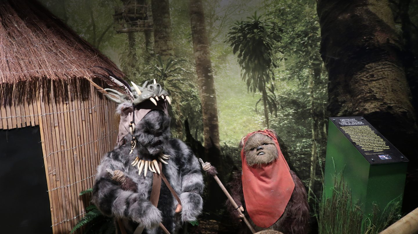 ewok costumes on display at spaceport starwars exhibition