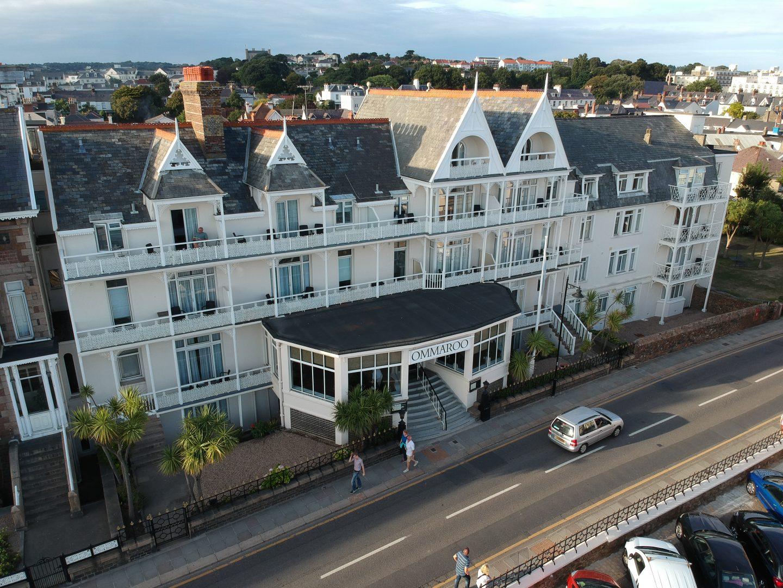 Drone shot of Ommaroo hotel havre de pas jersey