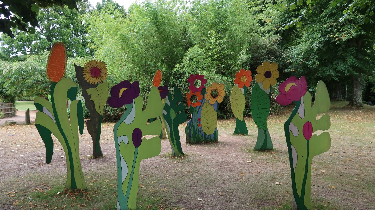 Wooden flowers at jersey zoo