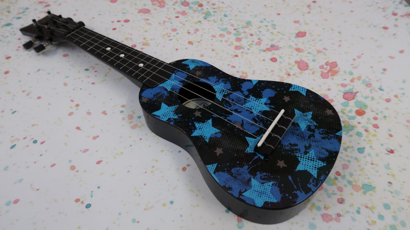 First Act kids ukulele black with blue stars