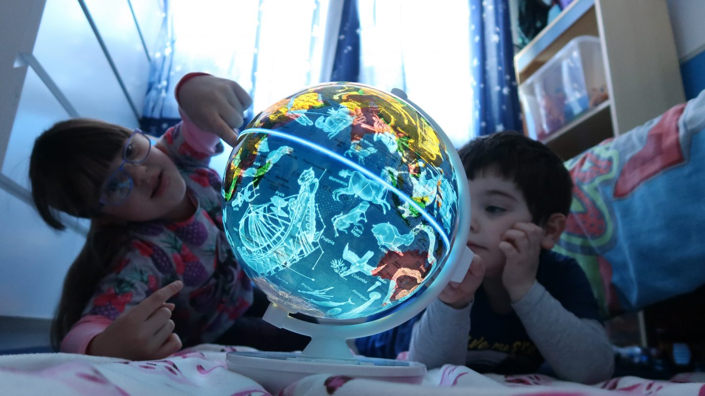 children looking at constellations smart globe myth