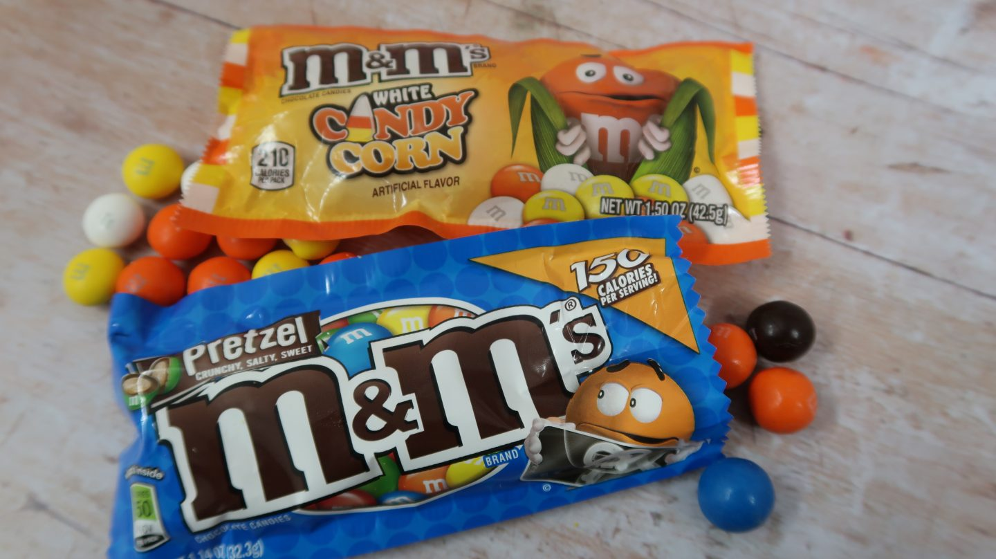taffy mail subscription box M&M's candy corn and pretzel