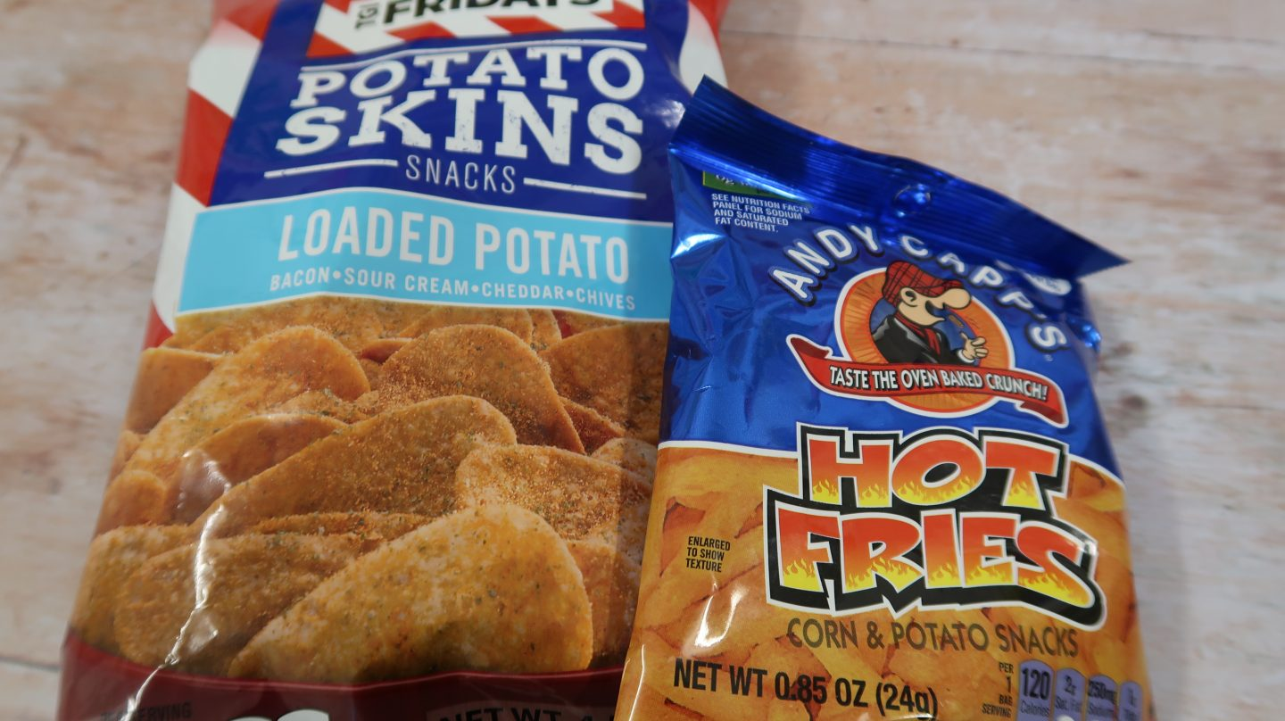 taffy mail subscription box loaded paotato skins and hot fries snacks